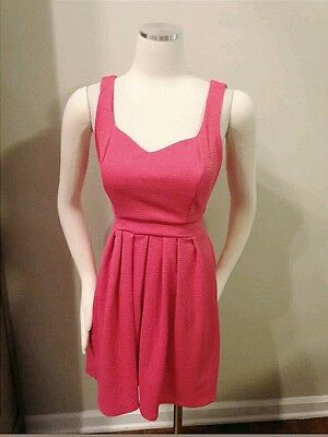 37ab71a21b Nanette Lepore L Amour Pink Ribbed Open Heart Back Dress Fit Flare Medium