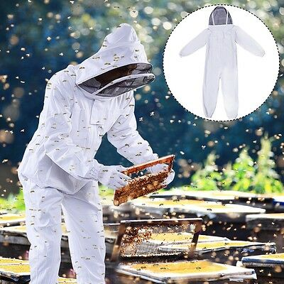 Professional Cotton Full Body Beekeeping Bee Keeping Suit w/Veil Hood Large Size