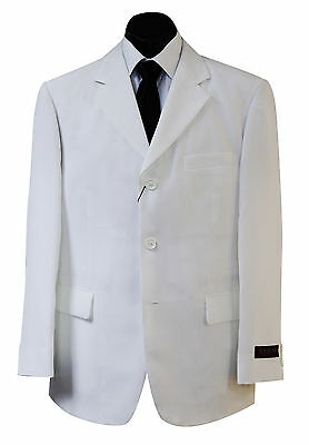 New Mens Formal Casual 3-Button Creamy White Suit Jacket And Trousers