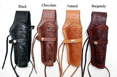 WESTERN COWBOY STYLE Leather Tooled Finish SINGLE GUN PISTOL HOLSTER CASE New