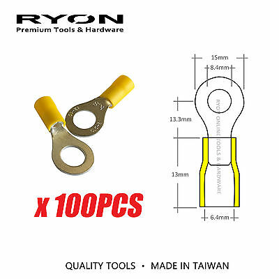 Yellow Ring Crimp Terminal Insulated Electrical Connector 8.5mm 12-10AWG Taiwan
