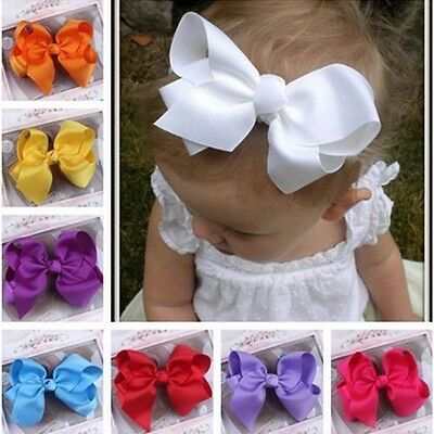 Baby Girls Toddler Kids Big Bow Grosgrain Ribbon Hairpin Alligator Hair Clip New