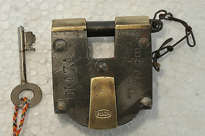 Old Iron & Brass Handcrafted Unique Shape Plaza 8 Lever Pad lock, Rich Patina