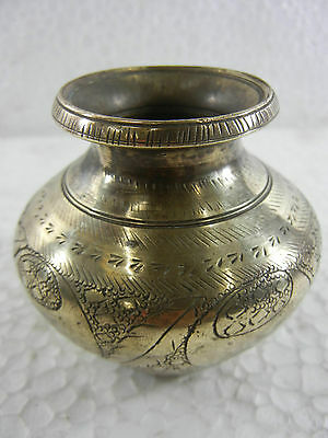 "Old Hand Engraved & Chrome Plated Brass Holy Water Pot ""Panchpatra"""
