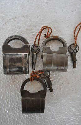 3 Pc Old Iron Handcrafted Unique Bag Shape Screw System Pad Locks,Rich Patina