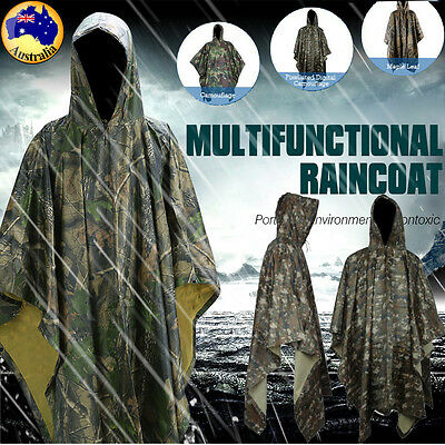 Waterproof Army Hooded Ripstop Festival Rain Poncho Military Camping Hiking Usef