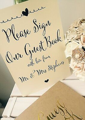 Vintage/Rustic A4 Personalised Wedding/Anniversary/Party Guest Book Sign