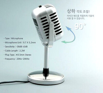Silver Audio Broadcast 3.5mm  Mini Microphone for PC social media 1930/40 style