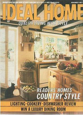 IDEAL HOME MAGAZINE November 1987 Lighting Cookery Dishwasher Review AL