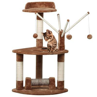Cat Pet Scratching Post Scratcher Tree Activity Toy Playing Center Climbing Bed