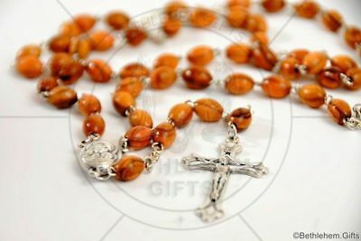 WOODEN CATHOLIC Rosary OLIVE WOOD Holy SOIL prayer HOLY LAND