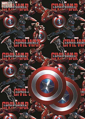 Captain America Civil War | Iron Man 2 Sheets of Giftwrap | Paper | 2 Gift Tags