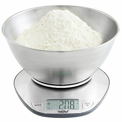 VonShef 5kg Electronic Digital Stainless Steel Mixing Bowl Food Kitchen Scales