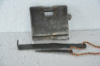 1940's Old Iron Unique Handcrafted 2 Key Tricky / Puzzle Strip System Padlock