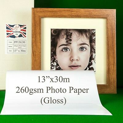"""13"""" x 30m 260gsm Inkjet GLOSS Photo Paper Roll High Quality Instant Dry"""