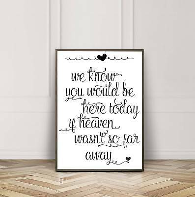 Vintage/Rustic ivory A3 'If Heaven wasn't so far away' memorial sign - unframed