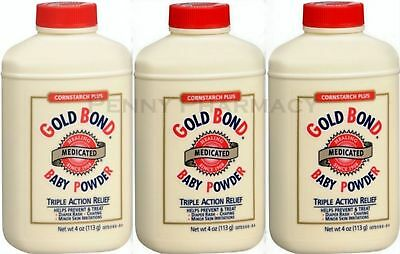 Gold Bond Baby Powder Cornstarch Plus Medicated 4oz ( 3 pack ) white ****