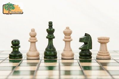 KINGDOM DRAUGHTS GREEN - 35cm / 14in Handcrafted Wooden Chess Set with Checkers