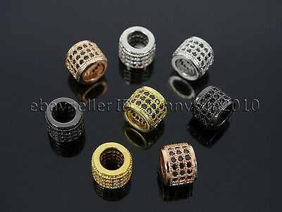 Zircon 3 Rows Gemstone Rondelle 6x7mm Spacer Connector Charm Beads Silver Gold