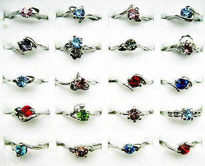 Wholesale Jewelry Lots 20pcs Crystal Of Rhinestone Silver plated Rings Free J11