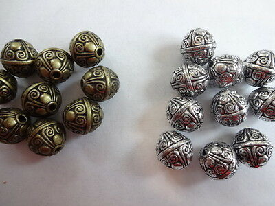 Pretty Ornated Antique Style Acrylic Spacer Beads 12mm Round - Various pack