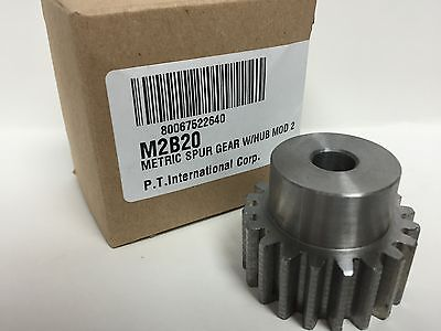 Metric Spur Gear With Hub Module 2 M2B20 220° Pressure Angle Straight Tooth