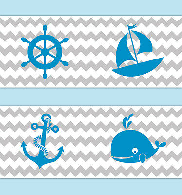 Nautical Nursery Decor Chevron Wallpaper Border Blue Grey Gray Wall Art Decal