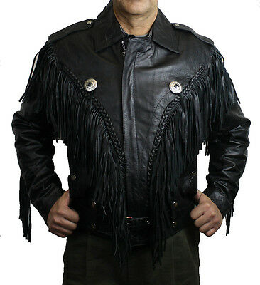 Men Genuine Cow hide  Leather Motorcycle Classic Jacket with Fringes