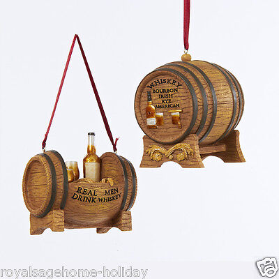 C8855 Whiskey Barrel on Stand w/Glasses Bottle Christmas Ornament Decoration