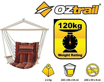 New! Oztrail Deluxe Anywhere Hammock Chair 120Kg Limit Swing Fha-Hch-A