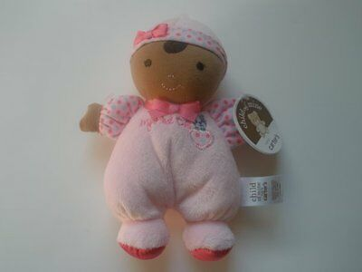 NWT Carters Child Of Mine My First Doll AA Brown Hair Pink Plush Baby Rattle Toy