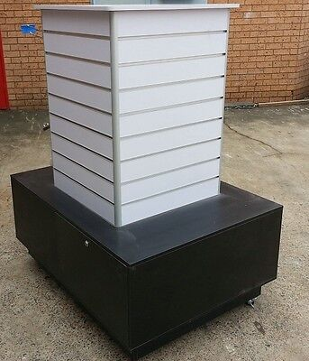 Display stand cabinet slat panel wall in shopping centre