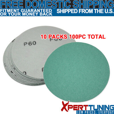 x100 Pcs Wet Dry Green Sanding Paper Bodykit Repair Sand Disc 60 Grit 5 Inch PSA