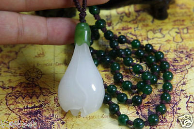 white hetian Chinese natural jade nephrite hand-carved jade Orchid Pendant
