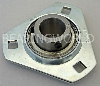 "SBPFT205-16 NEW 1"" Set Screw Pressed Steel Triangle 3-Bolt Flange Bearing"