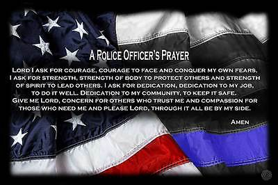"Two ""A Police Officer's Prayer"" Red White Blue with Blue Line Flag 11x17 Posters"