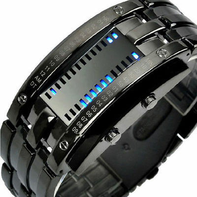 Digital New Men's LED Bracelet Watch Women's Date Stainless Steel Fashion