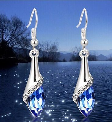 Ladies Women 925 Sterling Silver Crystal Long Drop Dangle Hook Earrings Jewelry