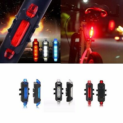 5 LED Portable USB Rechargeable Bike Bicycle Tail Rear Safety Warning Light Lamp