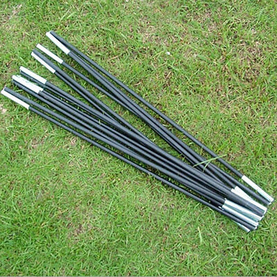 Reliable Black Fiberglass Tent Pole Kit 7 Sections Camping Travel Replacement