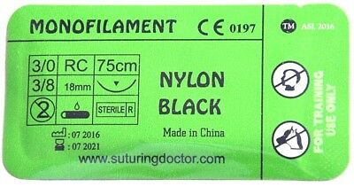 3/0 NYLON BLACK MONOFILAMENT SUTURE 75CM TRAINING USE 18mm NEEDLE NURSE VET NEW
