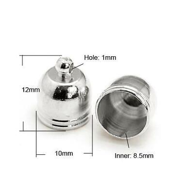 10 x Antique Silver Plated Brass 10 x 12mm Kumihimo Bell-Shape End Caps HA12025