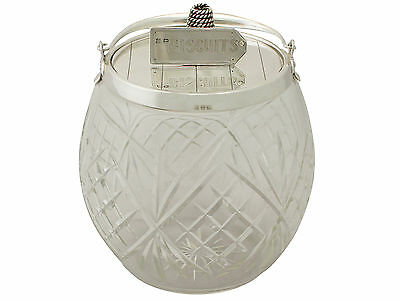 Sterling Silver and Cut Glass Biscuit Barrel - Antique Victorian