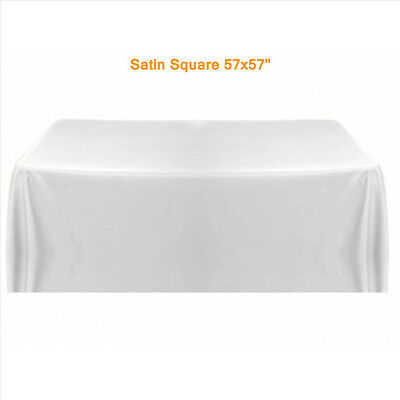 Table Tablecloth Covers White For Banquet Wedding Party Decor 145x145cm Satin