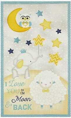 I Love You To The Moon & Back Quilt Panel * Sweet * New * In Stock * Free Post
