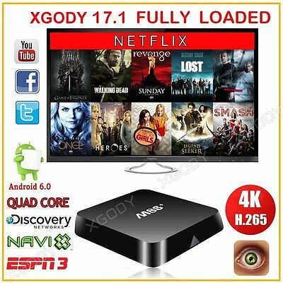 XGODY MX M8S+ Android 6.0 Smart TV Box WIFI Media Player HD Stream Fully Loaded