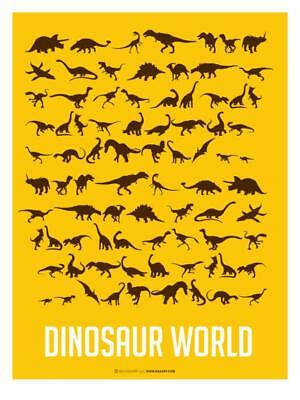 Dinosaur Poster Yellow Art Print by NaxArt, Wall Decor Home Bedroom LivingRoom