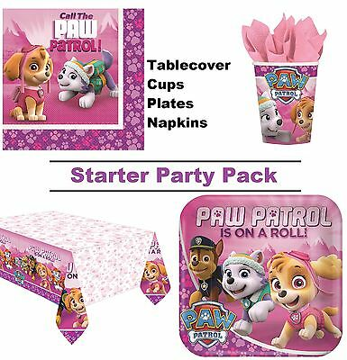 Paw Patrol Pink 8-48 Guest Starter Party Pack Cup | Plate | Napkin | Tablecover