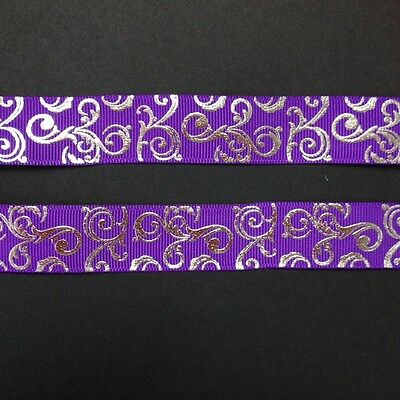 "Purple with silver Foil Swirl 7/8"" Printed Grosgrain  Ribbon 1m"