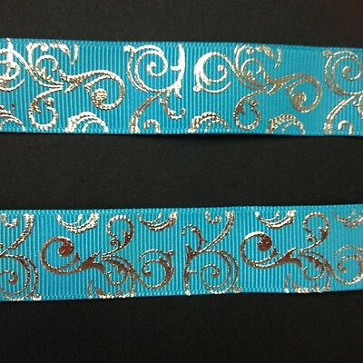 "Light Blue with silver Foil Swirl 7/8"" Printed Grosgrain  Ribbon 1m"